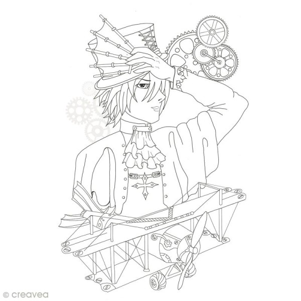 Cahier de coloriage - Manga Steampunk - 29,6 x 20,8 cm - Photo n°2