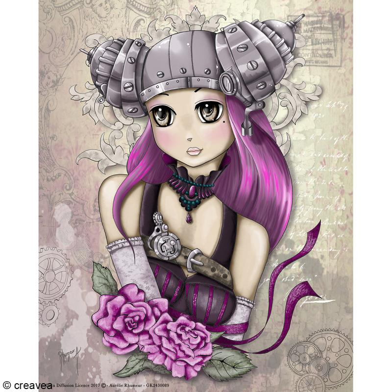 Image 3d manga girly steampunk 24 x 30 cm images 3d 24x30 cm creavea - Coloriage manga livre ...