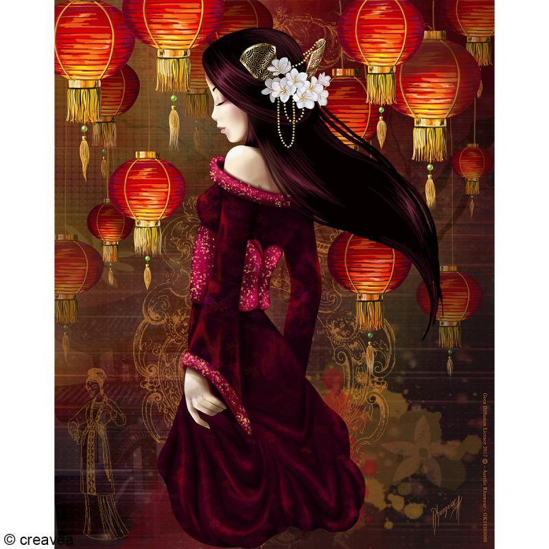 Image 3D Femme - Geisha - 24 x 30 cm - Photo n°1