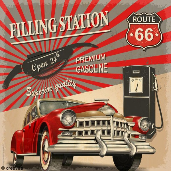 Image 3D Vintage - Route 66 - 30 x 30 cm - Photo n°1
