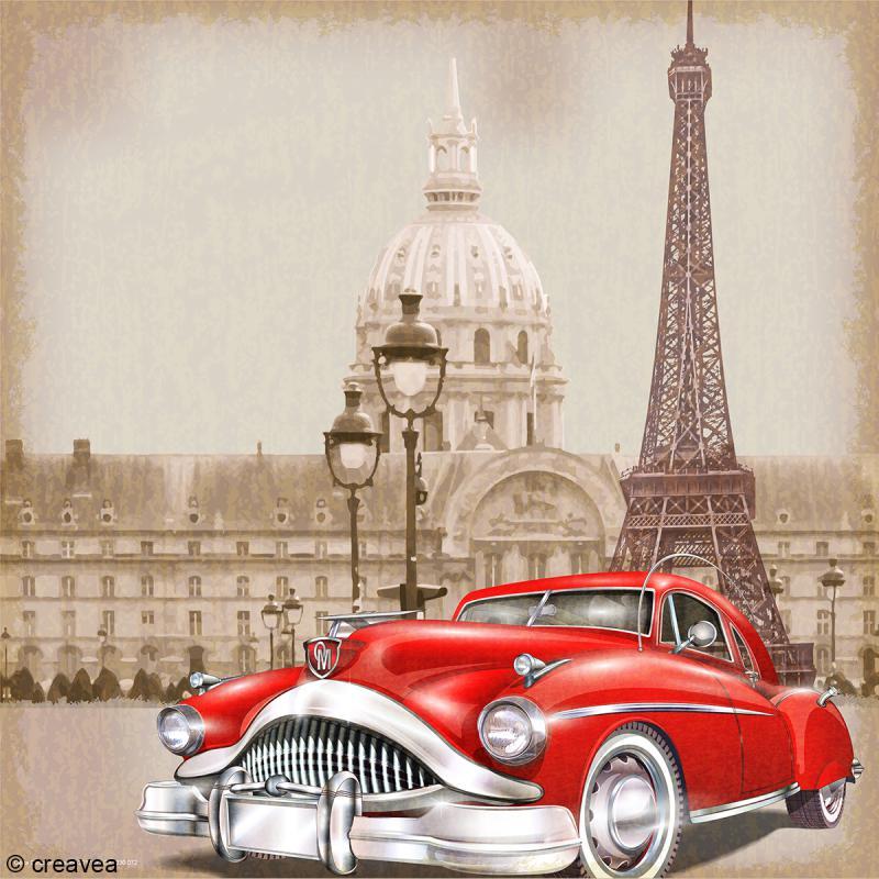 image 3d vintage voiture paris 30 x 30 cm images 3d 30x30 cm creavea. Black Bedroom Furniture Sets. Home Design Ideas