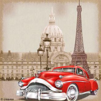 Image 3D Vintage - Voiture à Paris - 30 x 30 cm