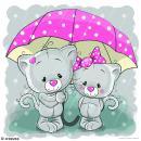Image 3D Animaux - Chatons sous la pluie - 30 x 30 cm - Photo n°1