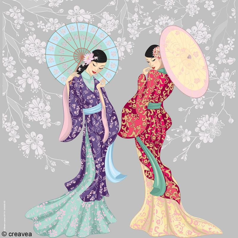 Image 3D Femme - 2 Geishas - 30 x 30 cm - Photo n°1