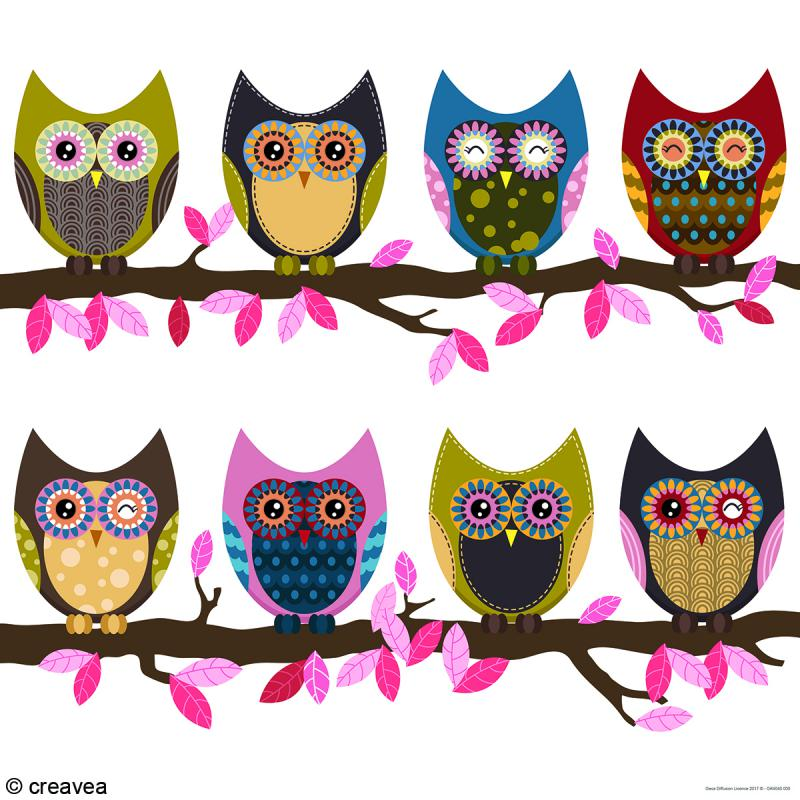 image 3d animaux hibou sur une branche 40 x 40 cm images 3d formats sp ciaux creavea. Black Bedroom Furniture Sets. Home Design Ideas