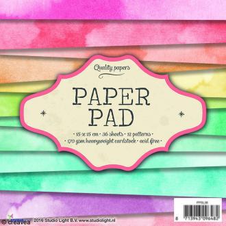 Bloc papier Scrapbooking - Arc en ciel - 15 x 15 cm - 36 feuilles