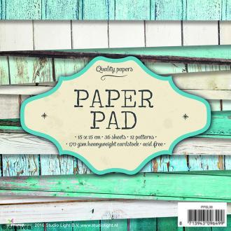 Bloc papier Scrapbooking - Bois bleu - 15 x 15 cm - 36 feuilles