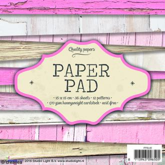 Bloc papier Scrapbooking - Bois rose - 15 x 15 cm - 36 feuilles