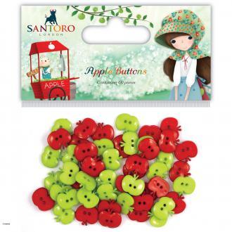 Assortiment de boutons Pommes - Vert et Rouge - 60 pcs