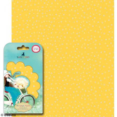 Papier décoratif Fleurs fond jaune - 3 feuilles Papier Patch de 35 x 40 cm - Photo n°1