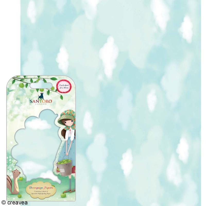 Papier décoratif Nuages - 3 feuilles Papier Patch de 35 x 40 cm - Photo n°1
