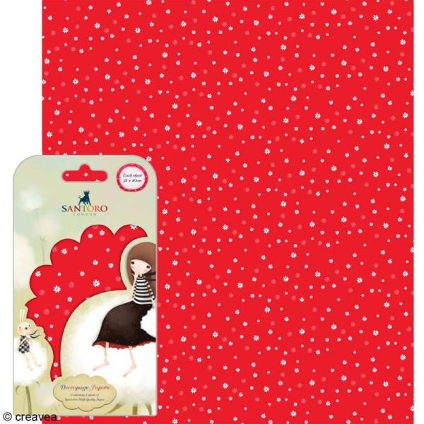Papier décoratif Fleurs fond rouge - 3 feuilles Papier Patch de 35 x 40 cm - Photo n°1