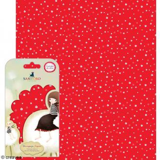 Papier décoratif Fleurs fond rouge - 3 feuilles Papier Patch de 35 x 40 cm