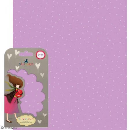 Papier décoratif Coeurs fond violet - 3 feuilles Papier Patch de 35 x 40 cm - Photo n°1