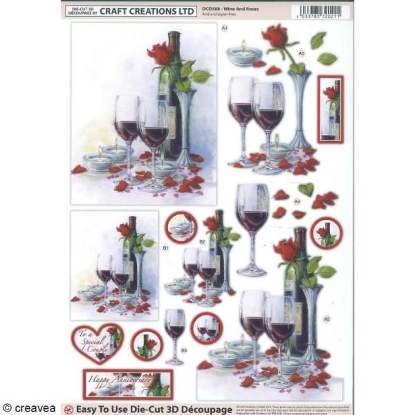 Carte 3D pré-découpée - Bouteille et verre de vin - 21 x 29,7 cm - Photo n°1