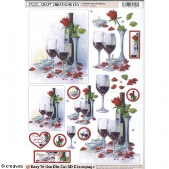 Carte 3D pré-découpée - Bouteille et verre de vin - 21 x 29,7 cm