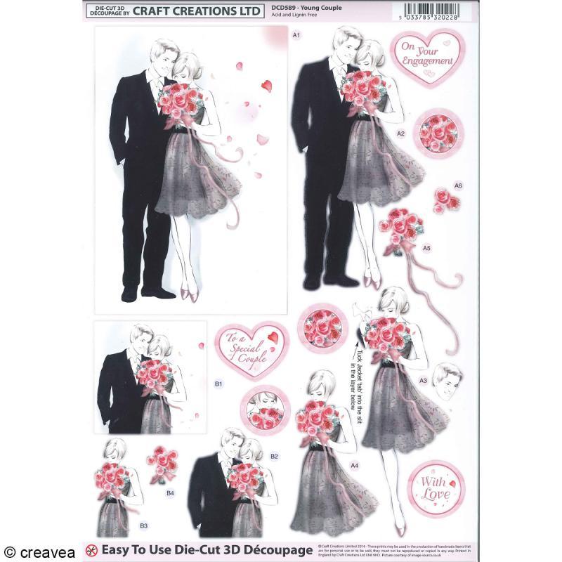 Carte 3D pré-découpée - Couple de mariés noir et gris - 21 x 29,7 cm - Photo n°1