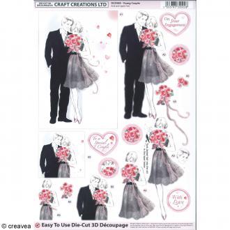 Carte 3D pré-découpée - Couple de mariés noir et gris - 21 x 29,7 cm