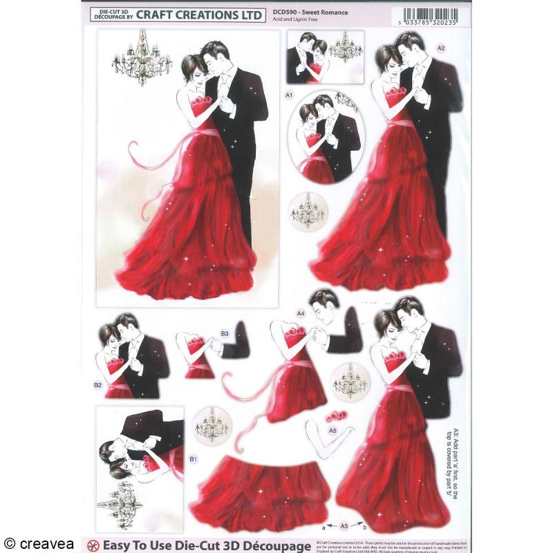 Carte 3D pré-découpée - Couple de mariés noir et rouge - 21 x 29,7 cm - Photo n°1