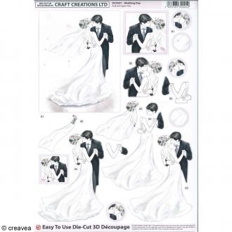 Carte 3D pré-découpée - Couple de mariés noir et blanc - 21 x 29,7 cm