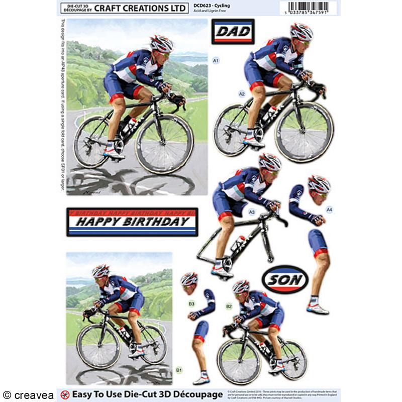 Carte 3D pré-découpée - Vélo - 21 x 29,7 cm - Photo n°1