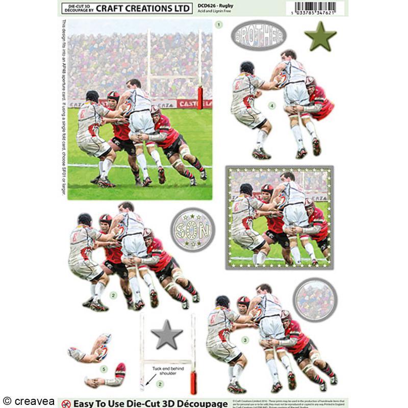 Carte 3D pré-découpée - Match de rugby - 21 x 29,7 cm - Photo n°1