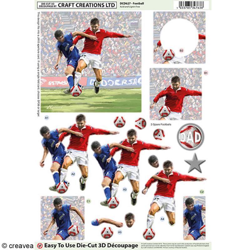 Carte 3D pré-découpée - Match de Football - 21 x 29,7 cm - Photo n°1