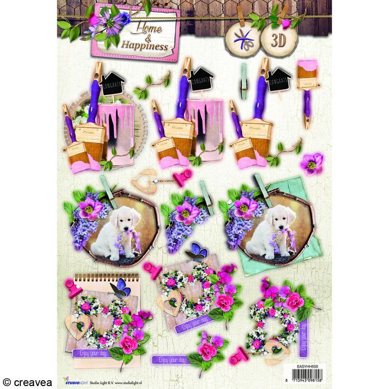 Carte 3D pré-découpée - Happiness Arts - 21 x 29,7 cm - Photo n°1