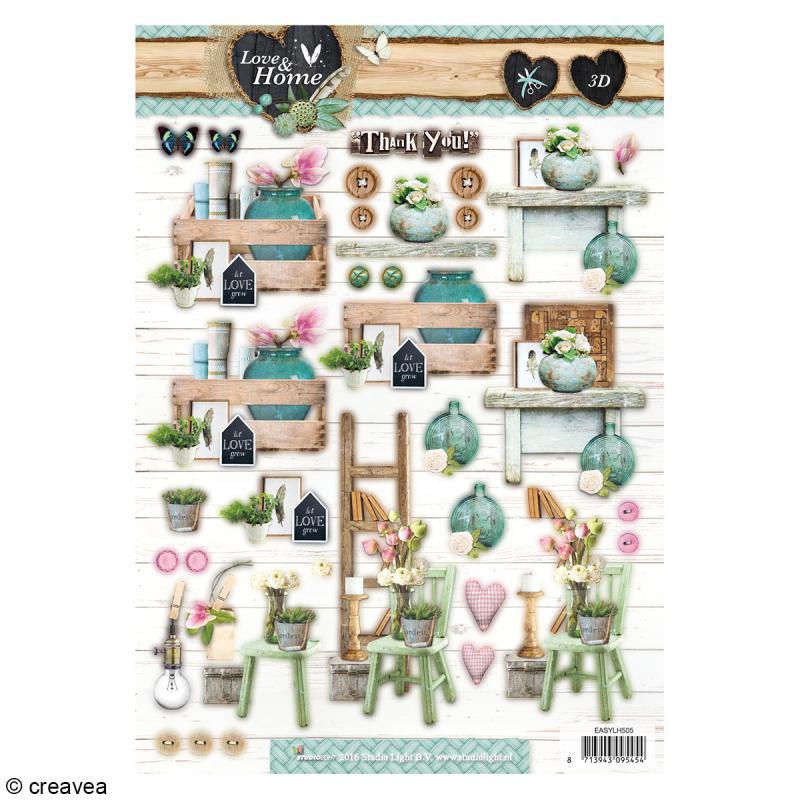 Carte 3D pré-découpée - Home Chaise et Fleurs - 21 x 29,7 cm - Photo n°1