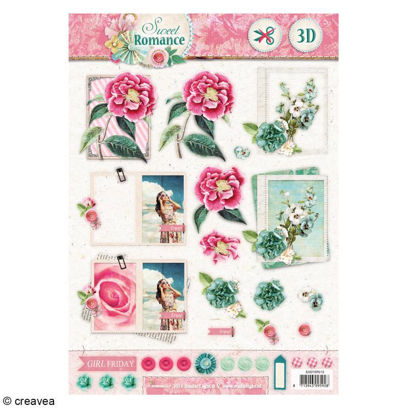 Carte 3D pré-découpée - Sweet romance 01 - 21 x 29,7 cm - Photo n°1