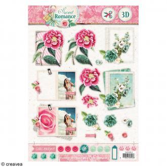 Carte 3D pré-découpée - Sweet romance 01 - 21 x 29,7 cm