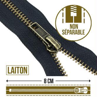 Fermeture laiton non séparable - 8 cm