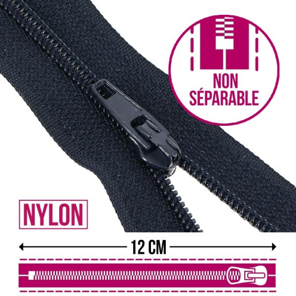 Fermeture fine nylon non séparable - 12 cm - Plusieurs couleurs - Photo n°1