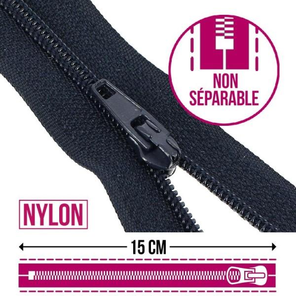 Fermeture fine nylon non séparable - 15 cm - Plusieurs couleurs - Photo n°1