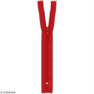 Fermeture fine nylon non séparable - Rouge - 20 cm