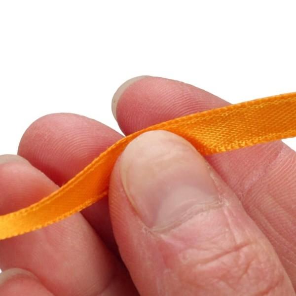 Ruban double en satin Orange, largeur 6 mm, longueur 30 m, rouleau décoratif - Photo n°2