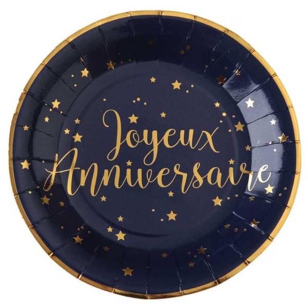 10 Assiettes Joyeux Anniversaire bleu marine et or - Photo n°1