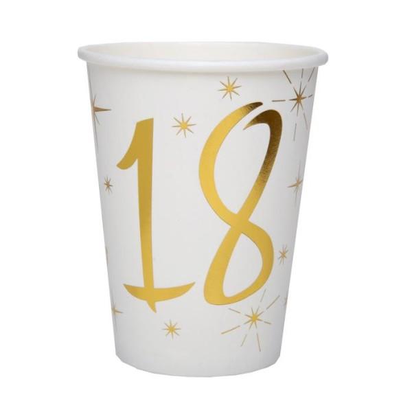 20 Gobelets Anniversaire 18 ans blanc et or - Photo n°1