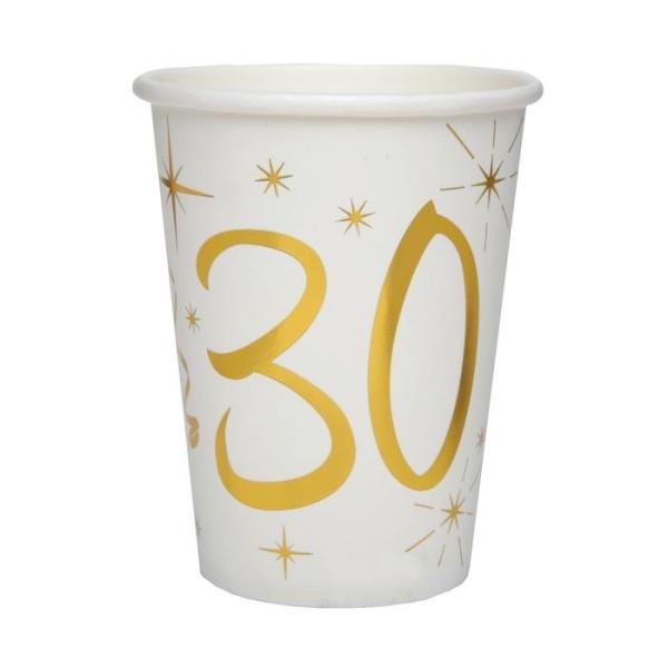 20 Gobelets Anniversaire 30 ans blanc et or - Photo n°1