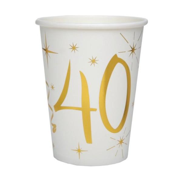 20 Gobelets Anniversaire 40 ans blanc et or - Photo n°1