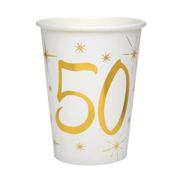 20 Gobelets Anniversaire 50 ans blanc et or - Photo n°1