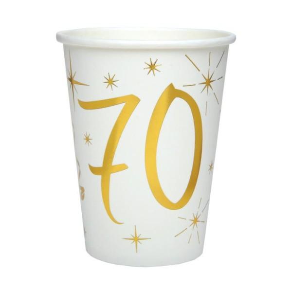 20 Gobelets Anniversaire 70 ans blanc et or - Photo n°1