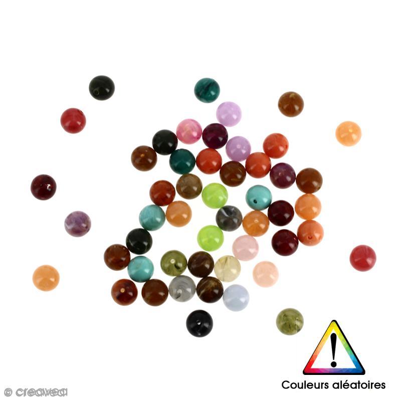 Perles rondes en acrylique Couleurs aléatoires - 8 mm - 50 pcs - Photo n°1