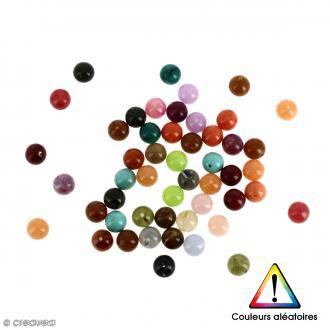Perles rondes en acrylique Couleurs aléatoires - 8 mm - 50 pcs