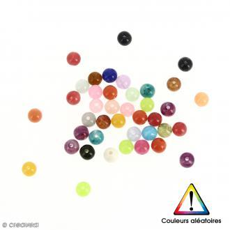 Perles rondes en acrylique Couleurs aléatoires - 12 mm - 50 pcs