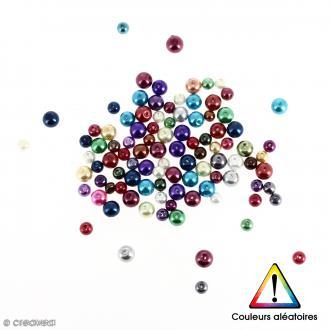 Perles rondes en verre nacrées Couleurs aléatoires - 6 à 8 mm - 100 pcs
