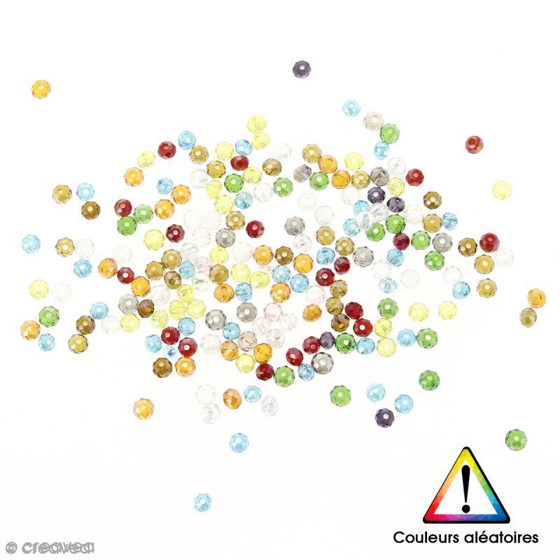 Perles en verre transparentes nacrées Couleurs aléatoires - 4 x 3 mm - 200 pcs - Photo n°1