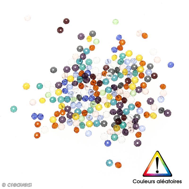 Perles en verre transparentes Couleurs aléatoires - 4 x 3 mm - 200 pcs - Photo n°1