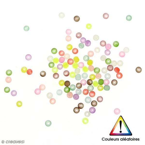 Perles rondes en verre givrées Couleurs aléatoires - 4 mm - 100 pcs - Photo n°1
