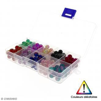 Set de perles rondes transparentes en verre - 10 couleurs - 8 mm - 200 pcs